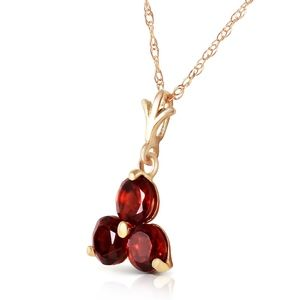14K. SOLID GOLD NECKLACE WITH NATURAL GARNETS
